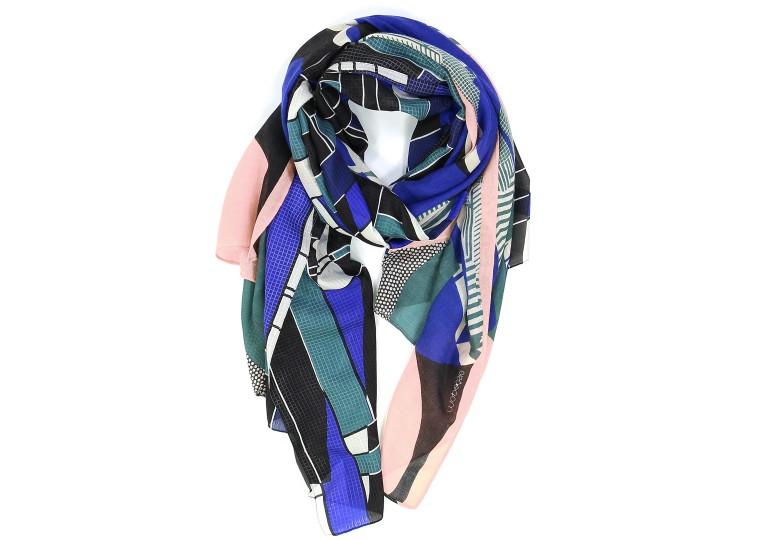 Foulard bi matière Calice bleu