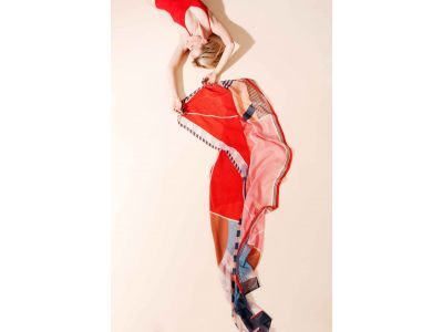 FOULARD PERSPECTIVE ROUGE