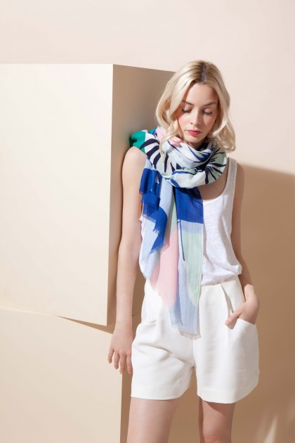 FOULARD TROPICAL BLEU