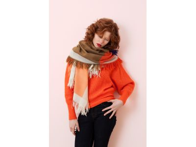 SUSIE ORANGE AND KHAKI SCARF