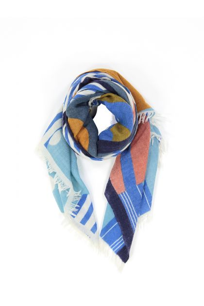 WALLI BLUE AND PINK SCARF