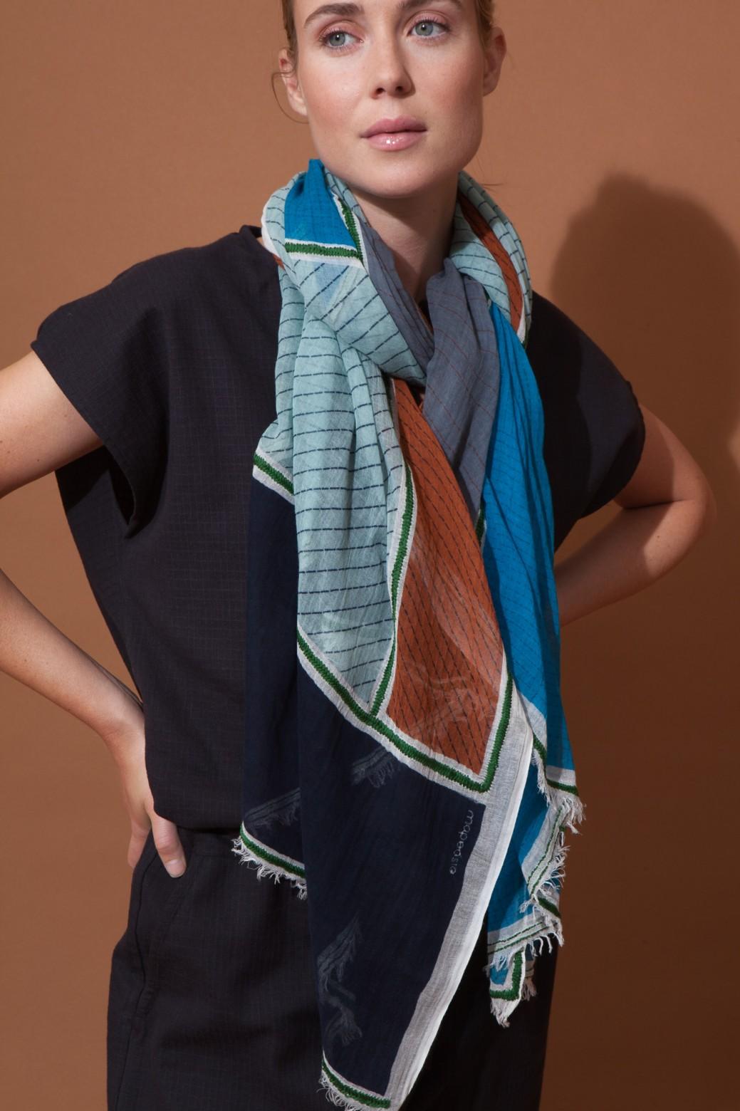 Foulard PATCHWORK Gris Bleu