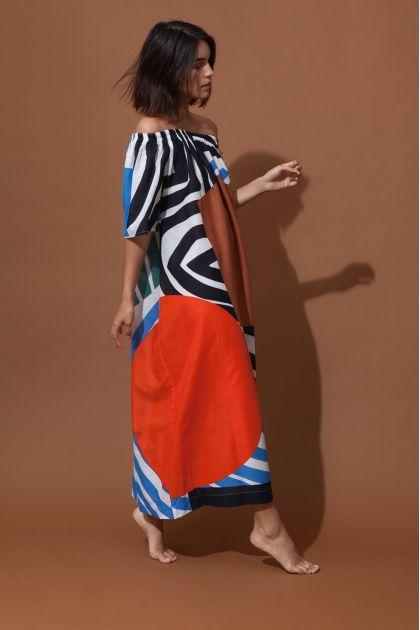 PALAO ODYSSEY ORANGE BLUE DRESS