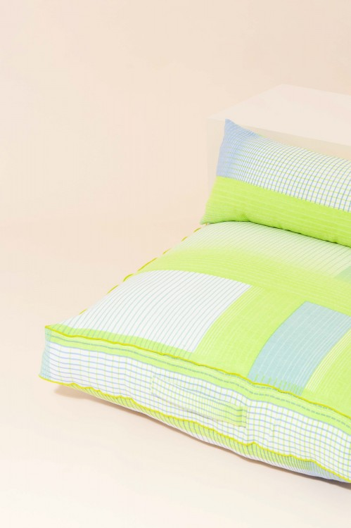 ECHO LIME LONG COTTON CUSHION COVER