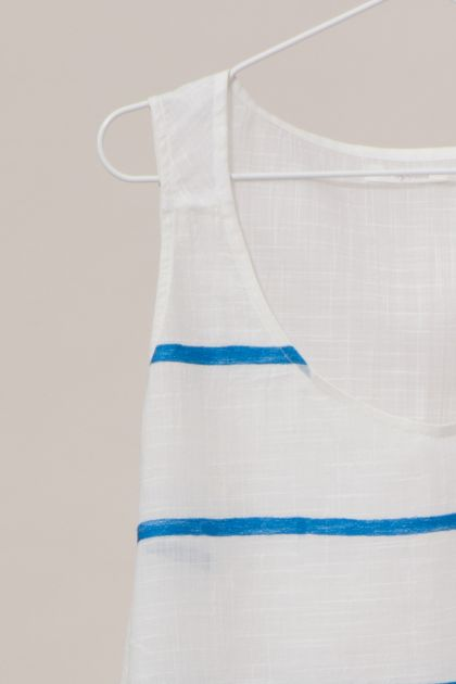 PACIFIQUE BLUE EMBROIDERED TOP