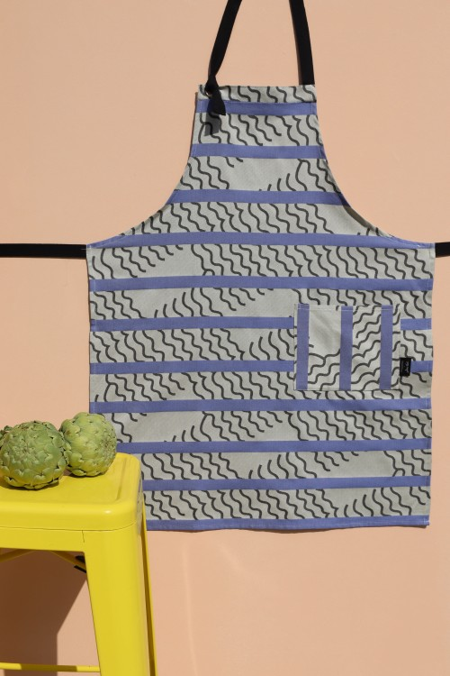 VAGUES BLUE KITCHEN APRON MAPOÉSIE x JEAN VIER