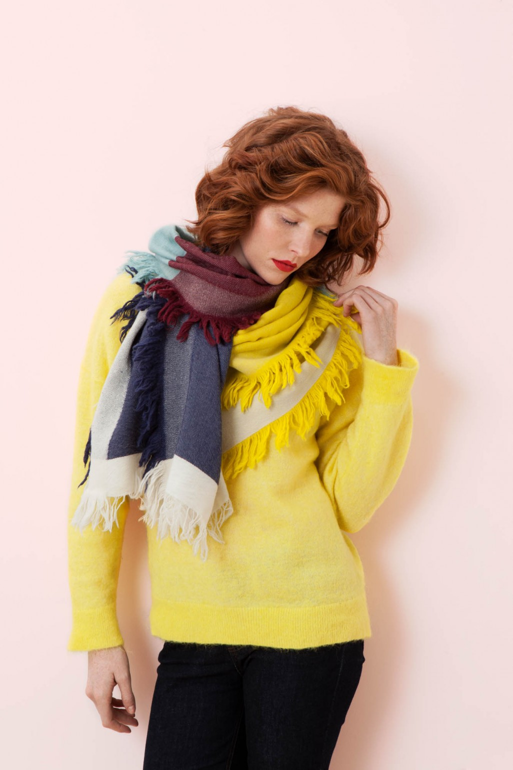 SUSIE YELLOW AND BLUE SCARF