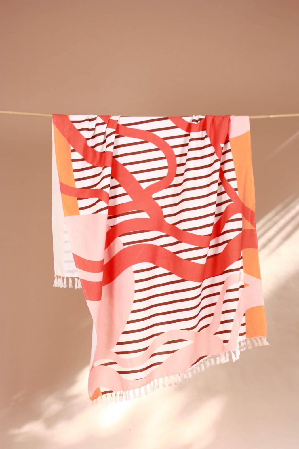 Soleil Couchant Peach Beach Towel