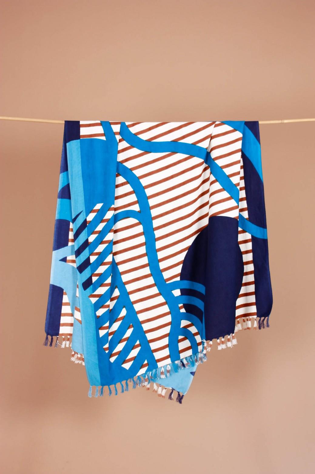 Soleil Couchant Blue Beach Towel