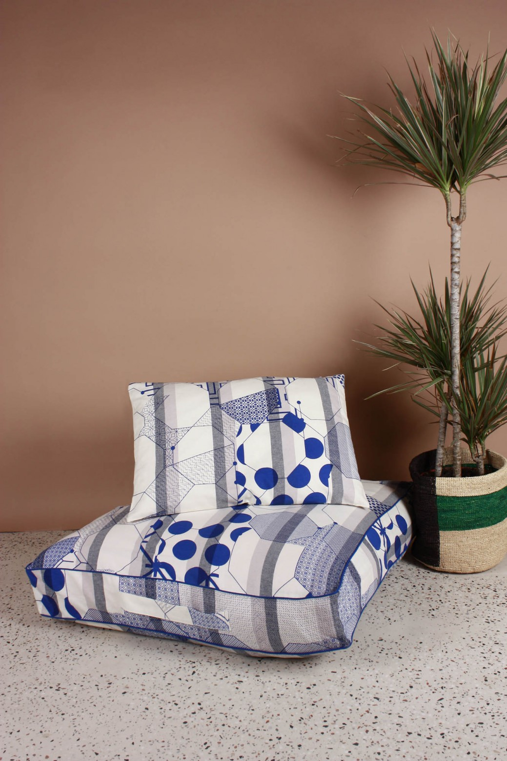 Miroir Blue Floor Cushion Cover