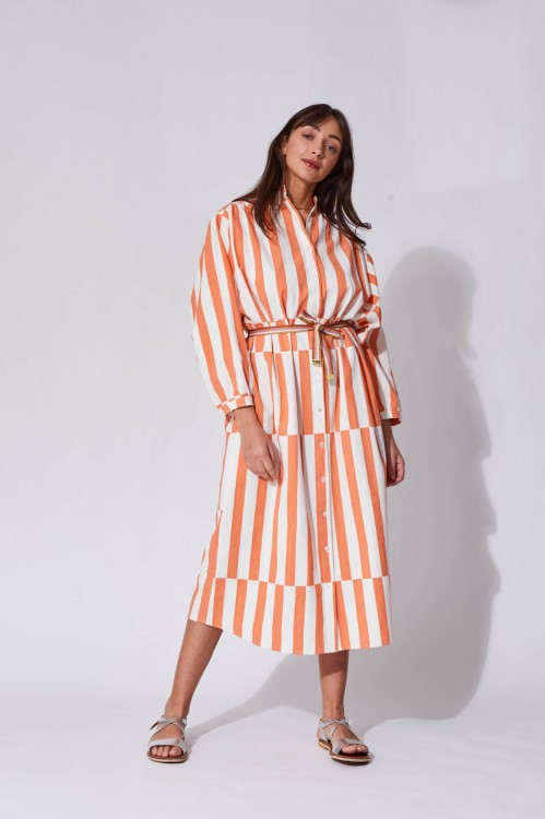 Eulalie Peach Dress