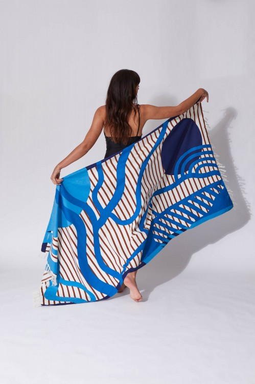 Soleil Couchant Blue Beach Towel