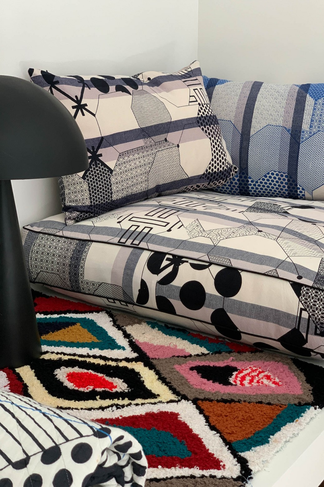 Miroir Black Floor Cushion Cover